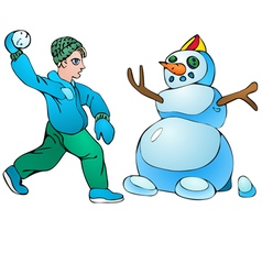Boy with snowball and snowman vector image