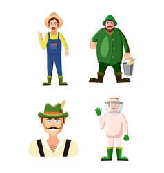 farmer icon set cartoon style vector image