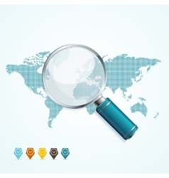 Magnifier and World Map vector image vector image