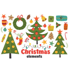 set of isolated christmas elements vector image vector image