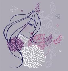 Woman profile flowers backer vector