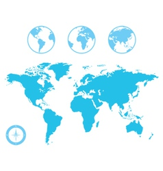 World Map and Globe Icons vector image vector image
