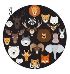 big animal face icon circle set on black vector image