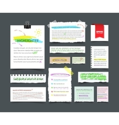 Collection of various blank white paper with text vector image