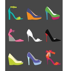 Coloful shoe icon set vector image vector image