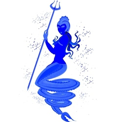 Mermaid with Trident in underwater world EPS10 vector image
