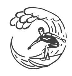 Vintage logo men surfing on wave surfboard surf vector