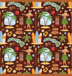 vintage set of hawaiian icons and symbols vector image
