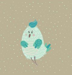 winter card with cartoon cute blue bird vector image