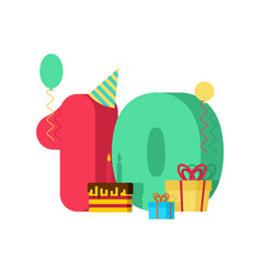 10 year greeting card birthday 10th anniversary vector image