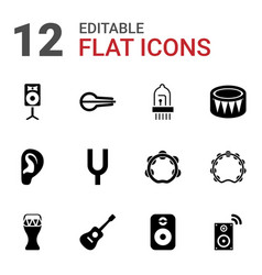12 acoustic icons vector