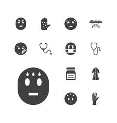 13 sick icons vector