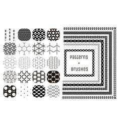 20 geometric patterns and 7 pattern brushes vector image