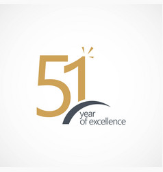 51 year excellence template design vector