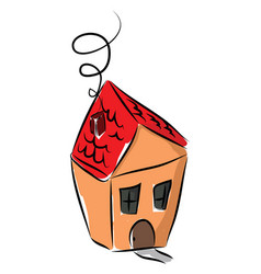 A small little house with red rotint door and vector