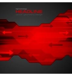 Abstract red black tech background vector