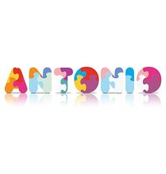 ANTONIO written with alphabet puzzle vector