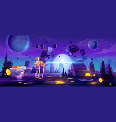 Astronaut on alien explore planet in far galaxy vector
