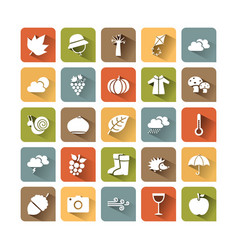 Autumn icon set on colored squares with shade vector