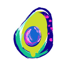 Avocado abstract tshirt print in modern bright vector