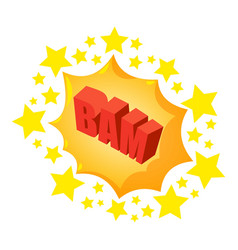 bam speech bubble icon isometric style vector image