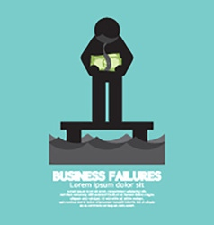Banknote Hang On Mans Neck Business Failures vector image