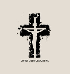 banner with abstract black cross and crucifixion vector image