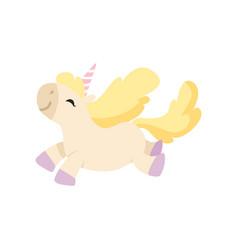 beautiful happy unicorn jumping cute magic vector image