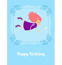 Birthday card with fairy vector image