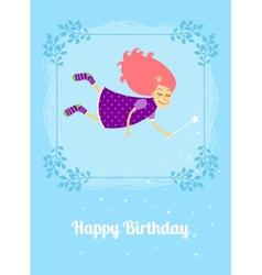 Birthday card with fairy vector image