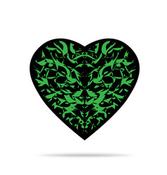 Black heart with green pattern and shadow vector