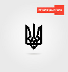 Black pixel art ukrainian emblem vector