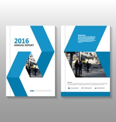 Blue label annual report Leaflet Brochure vector