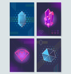 Bright neon lights and geometric shapes posters vector