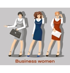 Business women set vector image