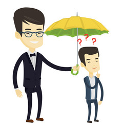 Businessman holding umbrella over man vector