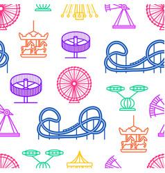 cartoon silhouette amusement park seamless pattern vector image