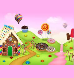 Cartoon sweet city land vector