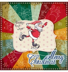 christmas card merry lettering eps10 vector image