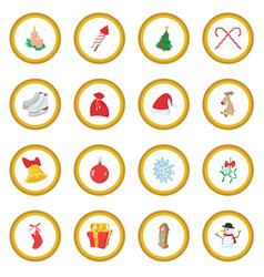 christmas cartoon icon circle vector image