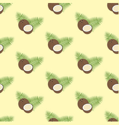 Coconut seamless pattern vector