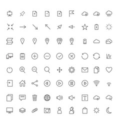 collection universal black flat icons for web vector image