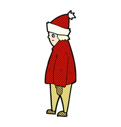 Comic cartoon person in winter clothes vector