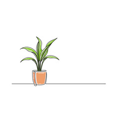 Continuous one line drawing a flower in a pot vector