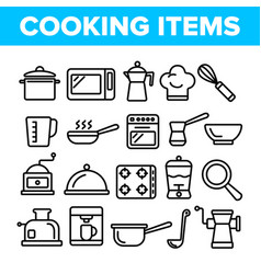 cooking items thin line icons set vector image