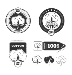 Cotton vintage logo labels and badges set vector image