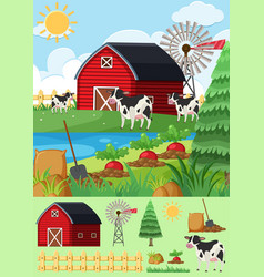 Cows and vegetables in farmyard vector
