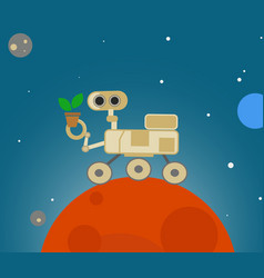 Cute cartoon rover exploring mars vector