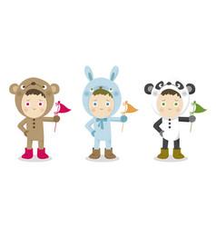 Cute children in animal suit vector