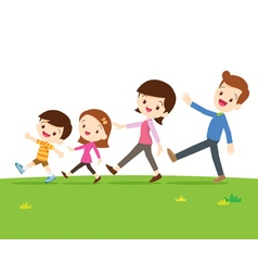 Cute family walking vector image